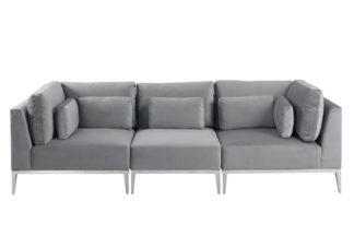 An Image of Cassie Three Seat Sofa – Dove Grey – Stainless Steel Base
