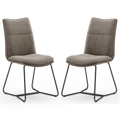 An Image of Ciko Cappuccino Fabric Dining Chairs With Black Legs In Pair