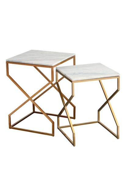 An Image of Alhambra Brass Nesting tables