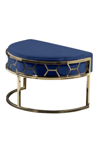 An Image of Alveare Footstool Brass - Royal Blue