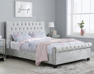 An Image of Sienna Steel Crushed Velvet Fabric Bed Frame Only - 4ft Small Double