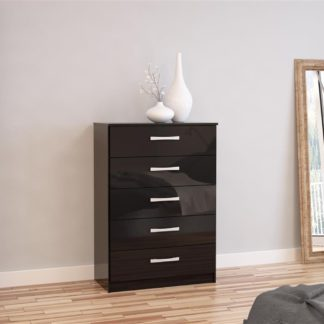 An Image of Lynx 5 Drawer Chest Black