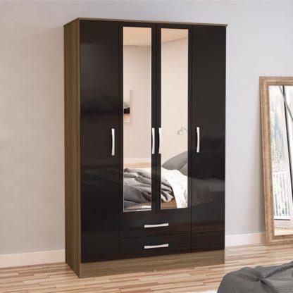 An Image of Lynx 4 Door Combination Mirrored Wardrobe Walnut and Black