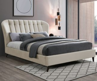 An Image of Elm Warm Stone Velvet Fabric Bed Frame - 5ft King Size