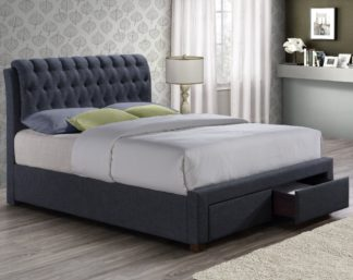 An Image of Valentino Charcoal Fabric 2 Drawer Storage Bed Frame - 5ft King Size