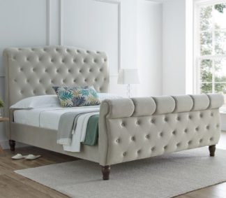 An Image of Colorado Warm Stone Velvet Fabric Sleigh Bed Frame - 5ft King Size