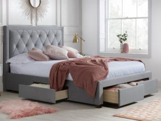 An Image of Woodbury Grey Velvet Fabric 4 Drawer Storage Bed Frame - 5ft King Size