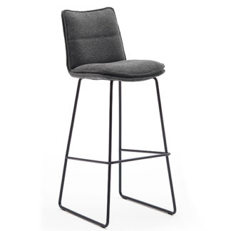 An Image of Ciko Fabric Bar Stool In Anthracite With Matt Black Steel Legs