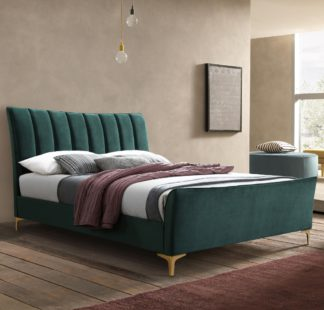 An Image of Clover Green Velvet Fabric Bed Frame - 4ft Small Double