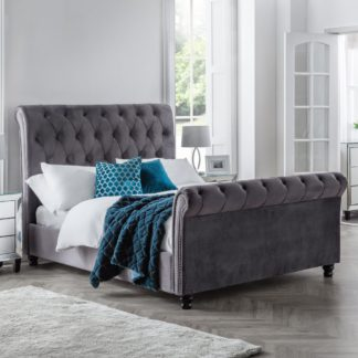 An Image of Valentino Grey Velvet Fabric Sleigh Bed Frame - 5ft King Size