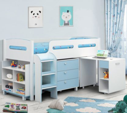An Image of Wooden Kids Mid Sleeper Sleep Station Desk Cabin Storage Bed Frame 3ft Single Kimbo Blue and White
