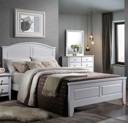 An Image of Parma White Wooden Bed Frame Only - 4ft Small Double