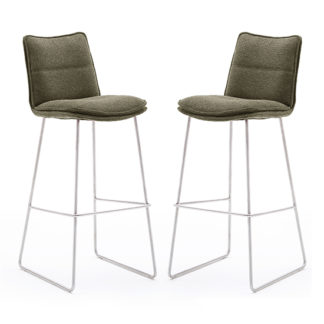 An Image of Ciko Olive Fabric Bar Stools With Brushed Legs In Pair