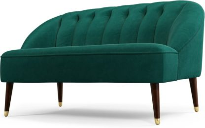 An Image of Custom MADE Margot 2 Seater Sofa, Teal Cotton Velvet with Dark Wood Brass Leg