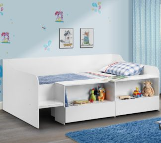 An Image of Stella White Wooden Kids Low Sleeper Cabin Storage Bed - 3ft Single