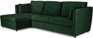 An Image of Milner Left Hand Facing Corner Storage Sofa Bed with Foam Mattress, Bottle Green Velvet