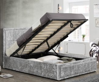An Image of Hannover Steel Velvet Fabric Ottoman Storage Bed Frame - 4ft Small Double