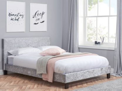 An Image of Berlin Steel Crushed Velvet Fabric Bed - 4ft Small Double