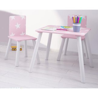 An Image of Star Pink and White Table and Chairs
