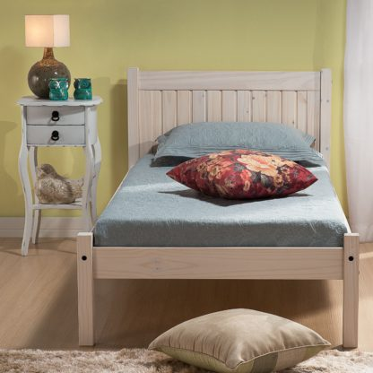 An Image of Wooden Bed Frame 4ft Small Double Rio White Washed