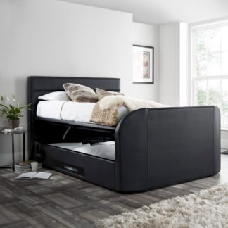 An Image of Annecy Black Leather Ottoman Media TV Bed Frame - 5ft King Size