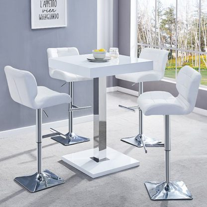An Image of Topaz White Gloss Bar Table With 4 Candid White Bar Stools