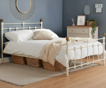 An Image of Atlas Cream Metal Bed Frame - 3ft Single