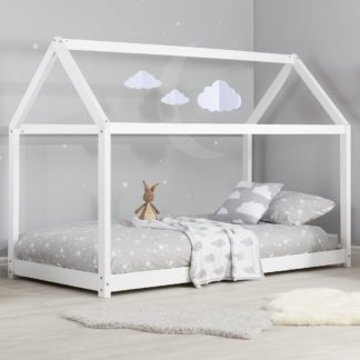 An Image of House White Wooden Bed Frame - 3ft Single