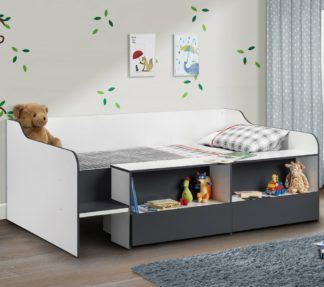 An Image of Stella Grey and White Wooden Kids Low Sleeper Cabin Storage Bed Frame - 3ft Single
