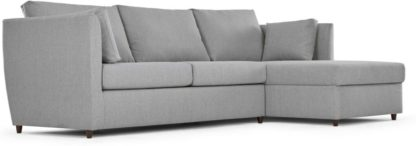 An Image of Milner Right Hand Facing Corner Storage Sofa Bed with Foam Mattress, Granite Grey