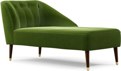 An Image of Custom MADE Margot Right Hand Facing Chaise Longue, Spruce Green Cotton Velvet with Dark Wood Brass Leg