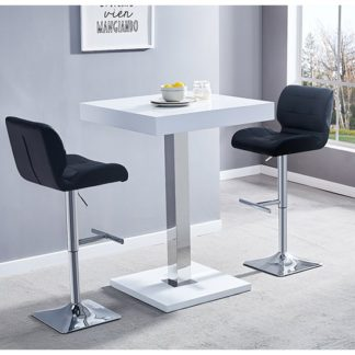 An Image of Topaz White Gloss Bar Table With 2 Candid Black Bar Stools