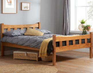 An Image of Solid Pine Wooden Bed Frame 4ft6 Double Miami Antique