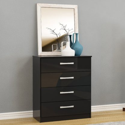 An Image of Lynx 4 Drawer Chest Black