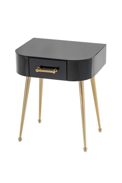 An Image of Mason Black Glass Side Table – Brushed Gold Legs