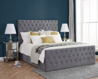 An Image of Marquis Grey Velvet Fabric Bed Frame - 5ft King Size