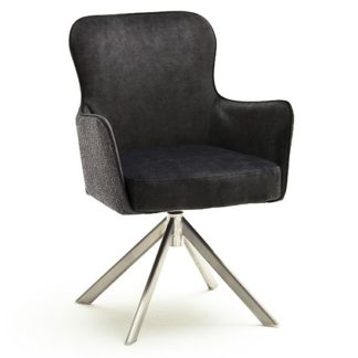 An Image of Hexo Anthracite Fabric Dining Chair With Brushed Oval Frame