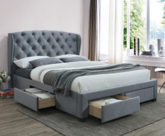 An Image of Hope Grey Velvet Fabric 4 Drawer Winged Storage Bed Frame - 4ft6 Double