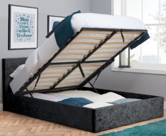 An Image of Berlin Black Crushed Velvet Fabric Ottoman Storage Bed Frame - 5ft King Size