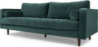 An Image of Scott 3 Seater Sofa, Petrol Cotton Velvet