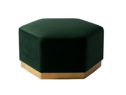 An Image of Senio Hexagonal Ottoman Bottle Green