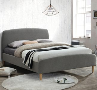 An Image of Quebec Grey Fabric Bed - 4ft6 Double