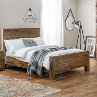 An Image of Hoxton Rustic Oak Wooden Bed Frame - 4ft6 Double