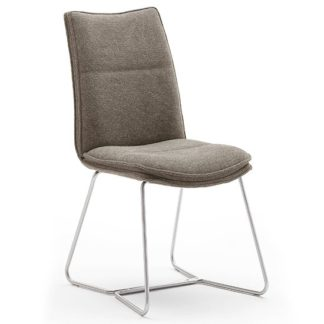An Image of Ciko Fabric Dining Chair In Cappuccino With Brushed Legs
