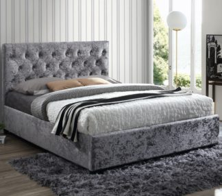 An Image of Cologne Steel Fabric Bed - 5ft King Size