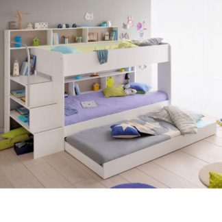 An Image of Bibop White Wooden Bunk Bed with Underbed Trundle Frame Only - EU Single