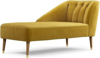 An Image of Custom MADE Margot Left Hand Facing Chaise Longue, Antique Gold Velvet with Light Wood Brass Leg