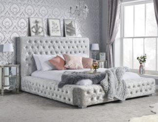An Image of Grande Steel Crushed Velvet Fabric Bed Frame - 5ft King Size