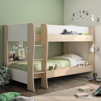 An Image of Roomy Oak and White Wooden Bunk Bed Frame - EU Single