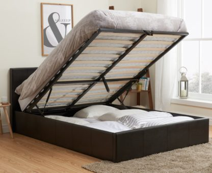 An Image of Berlin Brown Leather Ottoman Storage Bed Frame - 3ft Single